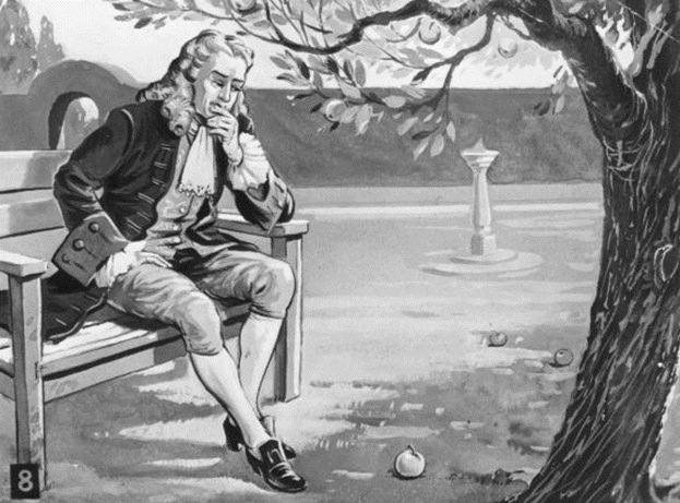 Artist Rendition of Newton Contemplating an Apple Falling