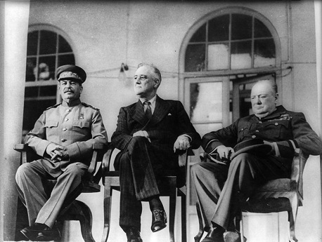This is Stalin, FDR, and Churchill at the Teheran Conference in 1943.