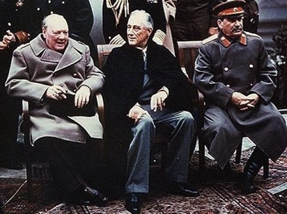 This was Churchill, FDR, and Stalin at Yalta in 1945