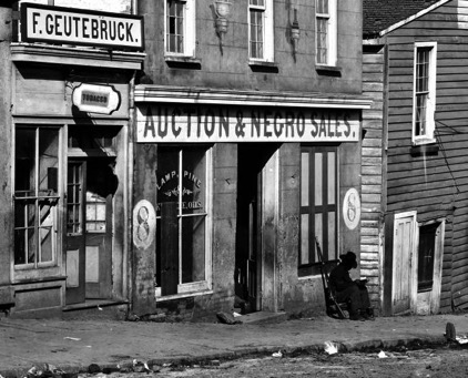 This is a photo of a slave market in Atlanta, Georgia during the Civil War.
