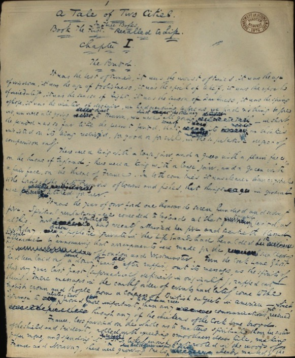 The first page of Dickens' novel
