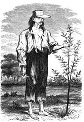 Johnny Appleseed caring for a young apple tree