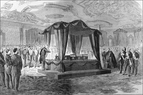 Lincoln's Funeral in the East Room, April 19, 1865.  Mrs. Lincoln, though shown in the artist's depiction, did not attend.