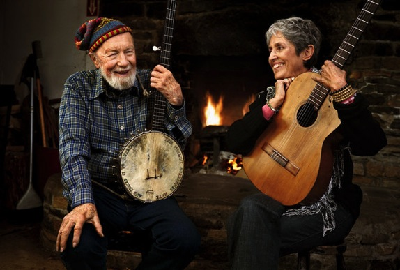 Pete Seeger and Joan Baez decades after the 60s