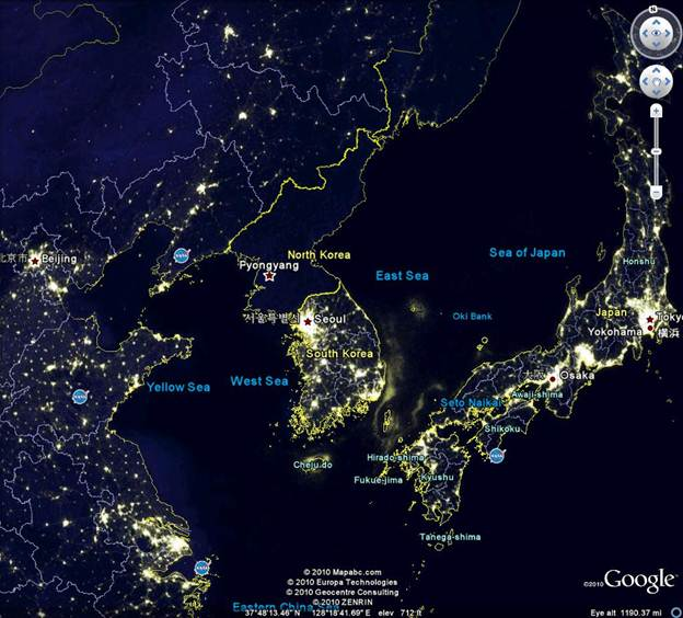 The lights are out over North Korea