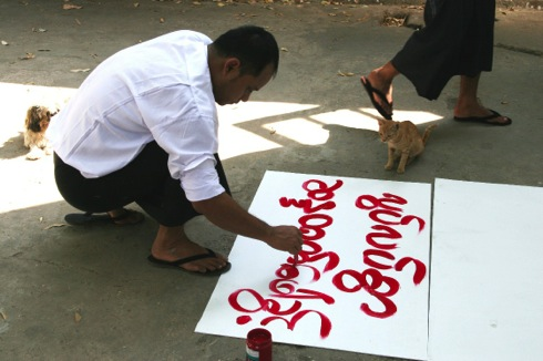 Protester making sign