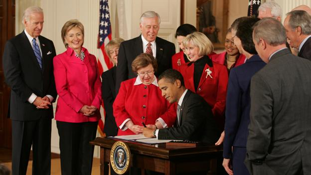 President Obama signing the Lilly Ledbetter Fair Pay Act of 2009