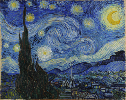 Description: A painting of a scene at night with 11 swirly stars and a bright yellow crescent moon. In the background there are hills, in the middle ground there is a moonlit town with a church that has an elongated steeple, and in the foreground there is the dark green silhouette of a cypress tree.