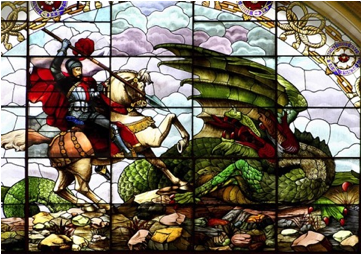 Description: This is St. George slaying a dragon.