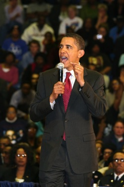 Barack Obama speaking as a presidential candidate