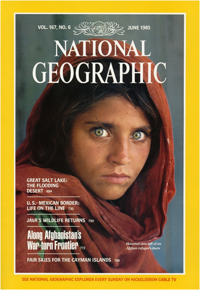 Description: https://thepowerofthefrontcover.files.wordpress.com/1985/06/1985-the-afghan-girl-national-geographic.jpg